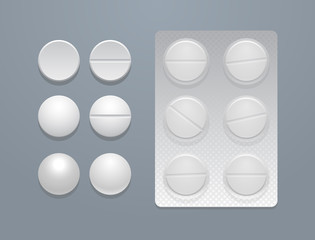 Vector white round pills and blister pack
