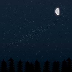Vector illustration of realistic moon and night forest with trees silhouettes and stars on night sky
