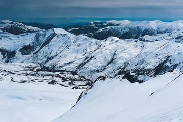 Winter snowy mountains. Caucasus Mountains, Georgia, Gudauri.