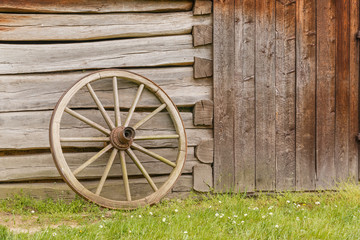 Closeup of old wooden wheel