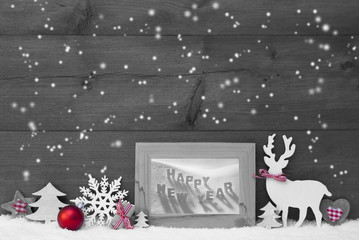 Gray Christmas Background Snowflakes Frame Happy New Year