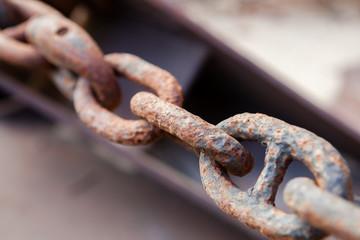 old rusty iron chain closeup