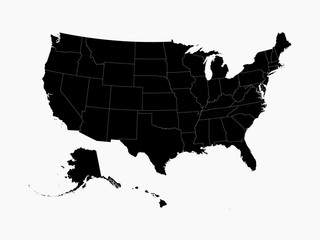 USA map in black with state borders