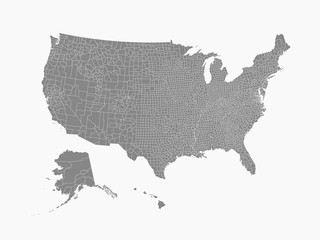 USA map with county borders