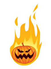 Burning in Fire Jack o Lantern Halloween Pumpkin