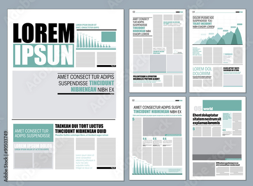 Green Graphical Design Newspaper Template Stock Image And Royalty