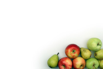 Apples and pears on white background