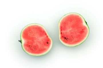 Halved watermelon on white background