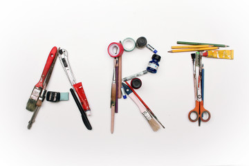 Art title made from artistic tools
