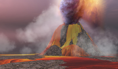 Volcanic Lands - Molten magma flows from an erupting volcano and smoke billows up into the sky.