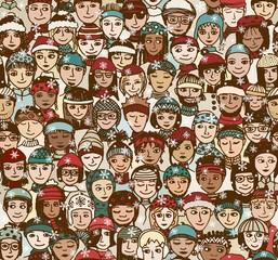 Menschen im Winter - handgezeichnetes Hintergrundmuster mit einer Menschenmenge mit Schals und Mützen