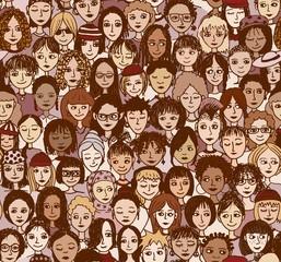 Frauen - handgezeichnetes Hintergrundmuster / Endlosmuster mit vielen unterschiedlichen Frauen (Farbversion)