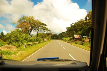 Driving along the left lane in a highway in the Philippines photo image