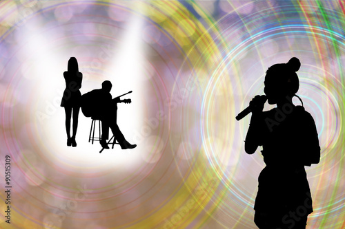 Silhouette of people singing or background of music contest