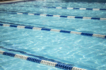Swimming pool with lane dividers