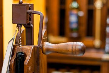Mechanical corkscrew bottle in retro style