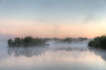 lake with morning fog