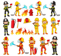 Firemen and equipments set