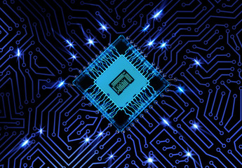 Abstract Circuit Board Background with Electrical Impulses