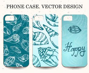 Phone case. Vintage vector background. Decorative shell elements