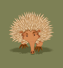 Little hedgehog walking alone