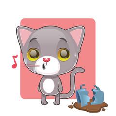 Cute gray cat feeling guilty after breaking a mug