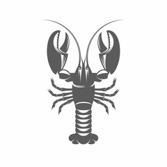 Lobster black and white vector illustration / Vector illustration, Lobster, Seafood, Claw, Cooked, Retro Styled, Food
