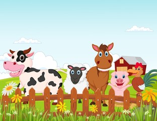 Happy farm animal cartoon collection