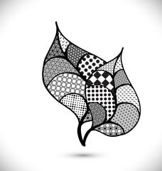 Cute leaf black and white