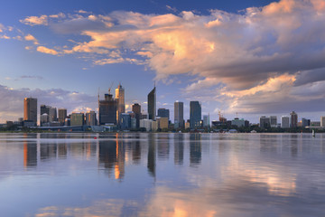 Skyline of Perth, Australia across the Swan River at sunset