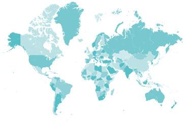 Welt Karte blau mit Länder Grenzen Vektor Grafik