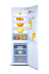 Open refrigerator with freezer, shiny white, steel, isolated on white, with fresh food, fridge freezer