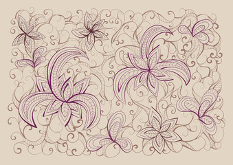 Floral  hand drawn background pattern.