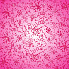 Festive Christmas background with pink snowflakes on a bright background