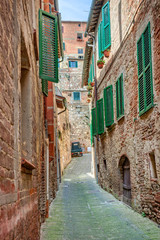 Wall Mural - Alley in old town Tuscany Italy
