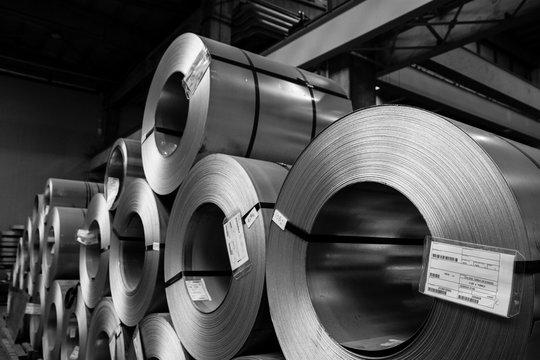 Metal coils in factory plan