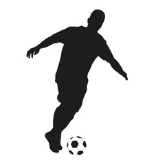 Soccer player. Vector isolated silhouette