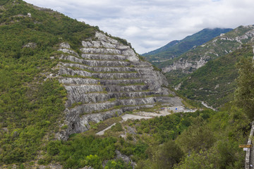 Big quarry under the sky in italy at toirano