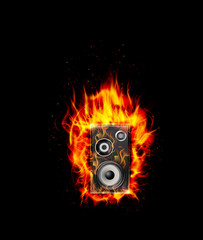 Wall Murals Flame Fire burning speaker on black background