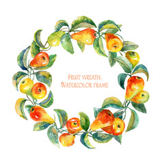 Wreath of pears.Round frame. Watercolor pears. Frame of juicy pears watercolor. Colorful fruits. Gentle, soft Illustration for greeting cards.
