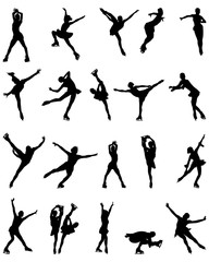 Black silhouettes of figure skaters, vector