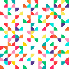 Abstract geometric seamless pattern with multicolored parts of circles. vector version illustration can be copied without any seams.