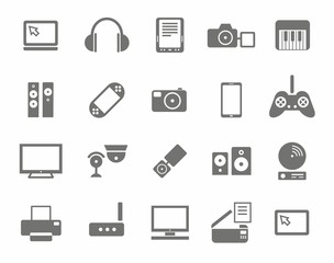Icons, photo & video equipment, audio equipment, monochrome, white background.