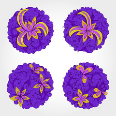 Set of vector round patterns with floral elements for your desig