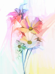 Still life of white color flowers with soft pink and purple. Oil Painting Soft colorful Bouquet of daisy, lily and gerbera flower. Hand Painted soft color pastel style.