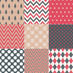seamless christmas symbol pattern in retro color