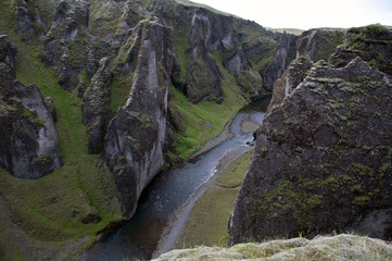 Fjardarglufur canyon with river, Iceland