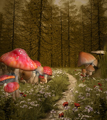 Wall Mural - Enchanted nature series - Forest enchanted pathway