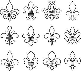 abstract fleur de lys symbol set
