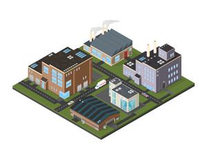 Isometric Industrial Cityscape icon illustration. A vector illustration of a commercial industrial estate - busy urban factory and warehouse complex.